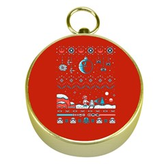 That Snow Moon Star Wars  Ugly Holiday Christmas Red Background Gold Compasses by Onesevenart