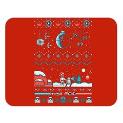 That Snow Moon Star Wars  Ugly Holiday Christmas Red Background Double Sided Flano Blanket (large)  by Onesevenart