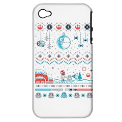 That Snow Moon Star Wars  Ugly Holiday Christmas Apple Iphone 4/4s Hardshell Case (pc+silicone) by Onesevenart