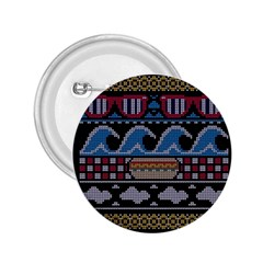 Ugly Summer Ugly Holiday Christmas Black Background 2 25  Buttons by Onesevenart