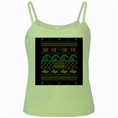 Ugly Summer Ugly Holiday Christmas Black Background Green Spaghetti Tank by Onesevenart