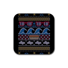 Ugly Summer Ugly Holiday Christmas Black Background Rubber Square Coaster (4 Pack)  by Onesevenart