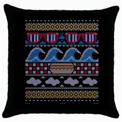 Ugly Summer Ugly Holiday Christmas Black Background Throw Pillow Case (black) by Onesevenart