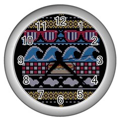 Ugly Summer Ugly Holiday Christmas Black Background Wall Clocks (silver)  by Onesevenart