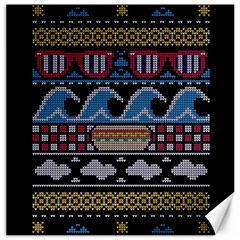 Ugly Summer Ugly Holiday Christmas Black Background Canvas 16  X 16   by Onesevenart