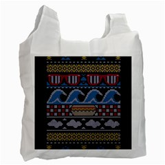 Ugly Summer Ugly Holiday Christmas Black Background Recycle Bag (one Side) by Onesevenart