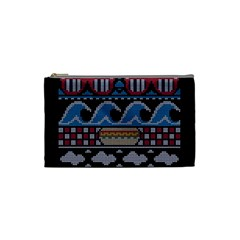 Ugly Summer Ugly Holiday Christmas Black Background Cosmetic Bag (small)  by Onesevenart