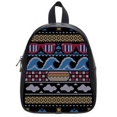 Ugly Summer Ugly Holiday Christmas Black Background School Bags (small)  by Onesevenart