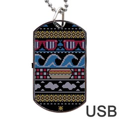 Ugly Summer Ugly Holiday Christmas Black Background Dog Tag Usb Flash (two Sides)  by Onesevenart