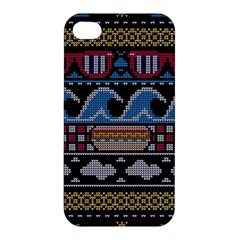 Ugly Summer Ugly Holiday Christmas Black Background Apple Iphone 4/4s Hardshell Case by Onesevenart