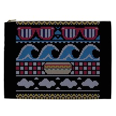 Ugly Summer Ugly Holiday Christmas Black Background Cosmetic Bag (xxl)  by Onesevenart