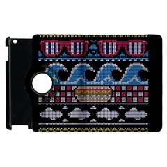 Ugly Summer Ugly Holiday Christmas Black Background Apple Ipad 2 Flip 360 Case by Onesevenart
