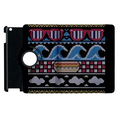 Ugly Summer Ugly Holiday Christmas Black Background Apple Ipad 3/4 Flip 360 Case by Onesevenart