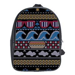 Ugly Summer Ugly Holiday Christmas Black Background School Bags (xl)  by Onesevenart