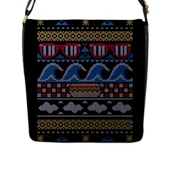 Ugly Summer Ugly Holiday Christmas Black Background Flap Messenger Bag (l)  by Onesevenart