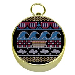 Ugly Summer Ugly Holiday Christmas Black Background Gold Compasses by Onesevenart