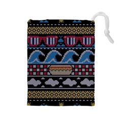 Ugly Summer Ugly Holiday Christmas Black Background Drawstring Pouches (large)  by Onesevenart