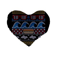Ugly Summer Ugly Holiday Christmas Black Background Standard 16  Premium Flano Heart Shape Cushions by Onesevenart