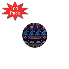Ugly Summer Ugly Holiday Christmas Blue Background 1  Mini Magnets (100 Pack)  by Onesevenart