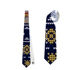 Ugly Summer Ugly Holiday Christmas Blue Background Neckties (two Side)  by Onesevenart