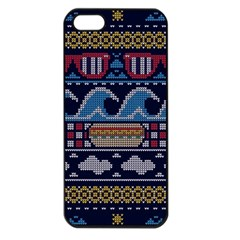 Ugly Summer Ugly Holiday Christmas Blue Background Apple Iphone 5 Seamless Case (black) by Onesevenart