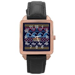 Ugly Summer Ugly Holiday Christmas Blue Background Rose Gold Leather Watch  by Onesevenart