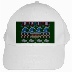 Ugly Summer Ugly Holiday Christmas Green Background White Cap by Onesevenart