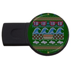 Ugly Summer Ugly Holiday Christmas Green Background Usb Flash Drive Round (2 Gb)  by Onesevenart