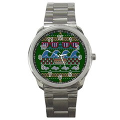 Ugly Summer Ugly Holiday Christmas Green Background Sport Metal Watch by Onesevenart