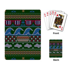 Ugly Summer Ugly Holiday Christmas Green Background Playing Card by Onesevenart