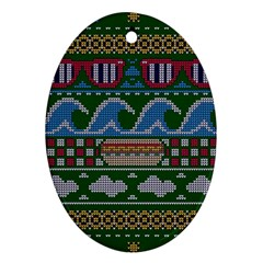 Ugly Summer Ugly Holiday Christmas Green Background Oval Ornament (two Sides) by Onesevenart