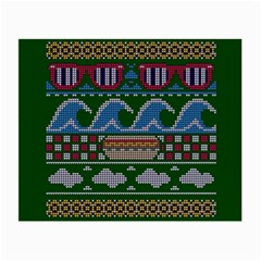 Ugly Summer Ugly Holiday Christmas Green Background Small Glasses Cloth (2 Side) by Onesevenart