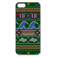Ugly Summer Ugly Holiday Christmas Green Background Apple Seamless Iphone 5 Case (clear) by Onesevenart