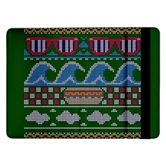 Ugly Summer Ugly Holiday Christmas Green Background Samsung Galaxy Tab Pro 12 2  Flip Case by Onesevenart