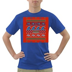 Ugly Summer Ugly Holiday Christmas Red Background Dark T Shirt by Onesevenart