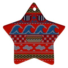 Ugly Summer Ugly Holiday Christmas Red Background Star Ornament (two Sides)  by Onesevenart