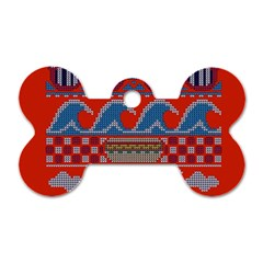 Ugly Summer Ugly Holiday Christmas Red Background Dog Tag Bone (one Side) by Onesevenart