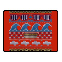 Ugly Summer Ugly Holiday Christmas Red Background Double Sided Fleece Blanket (Small)  by Onesevenart