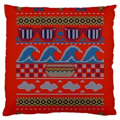 Ugly Summer Ugly Holiday Christmas Red Background Standard Flano Cushion Case (one Side) by Onesevenart