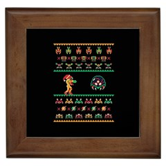 We Wish You A Metroid Christmas Ugly Holiday Christmas Black Background Framed Tiles by Onesevenart