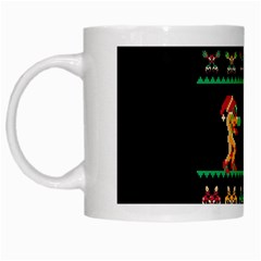 We Wish You A Metroid Christmas Ugly Holiday Christmas Black Background White Mugs by Onesevenart