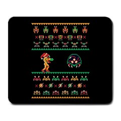 We Wish You A Metroid Christmas Ugly Holiday Christmas Black Background Large Mousepads by Onesevenart