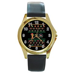 We Wish You A Metroid Christmas Ugly Holiday Christmas Black Background Round Gold Metal Watch by Onesevenart