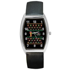 We Wish You A Metroid Christmas Ugly Holiday Christmas Black Background Barrel Style Metal Watch by Onesevenart