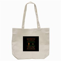 We Wish You A Metroid Christmas Ugly Holiday Christmas Black Background Tote Bag (cream) by Onesevenart
