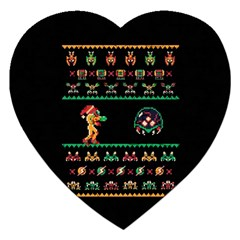 We Wish You A Metroid Christmas Ugly Holiday Christmas Black Background Jigsaw Puzzle (heart) by Onesevenart