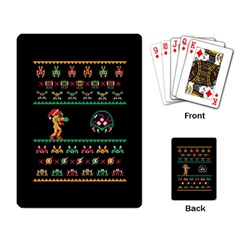 We Wish You A Metroid Christmas Ugly Holiday Christmas Black Background Playing Card by Onesevenart
