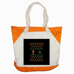 We Wish You A Metroid Christmas Ugly Holiday Christmas Black Background Accent Tote Bag by Onesevenart