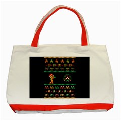 We Wish You A Metroid Christmas Ugly Holiday Christmas Black Background Classic Tote Bag (red) by Onesevenart