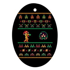 We Wish You A Metroid Christmas Ugly Holiday Christmas Black Background Oval Ornament (two Sides) by Onesevenart